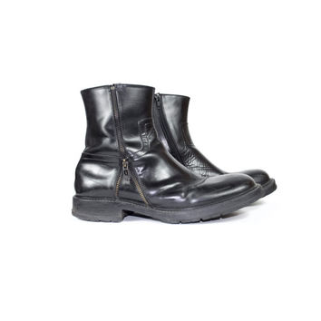 sz 10.5 kenneth cole black leather motorcycle boots / reaction zip up mens black leather ankle boots