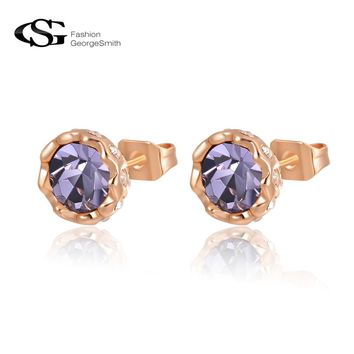 GS Women Stud Earrings AAA Zircon Stones Rose Gold Color Brincos Wedding Earrings for Women Fashion Jewelry Ohrringe G4