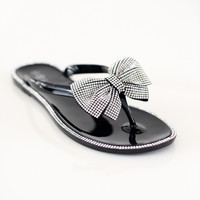Rhinestone Bow & Trim Jelly Sandal