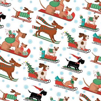 Bulk Ream Roll Christmas Gift Wrap Wrapping Paper, Sleigh Dogs