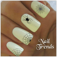 Spider Nail Decal. 20 Vinyl Stickers Halloween Nail Art