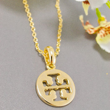 Tory Burch Logo Pendant Necklace with Signature Cutouts Gold Plated