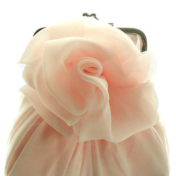 Pale Pink Chiffon Rose Purse - Size Small - Ready To Ship