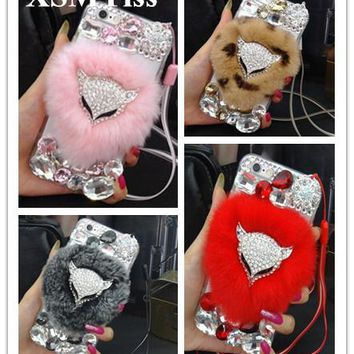 XSMYiss Luxury fox head Bling Warm Soft Rabbit Fur Hair phone cases for iphoneX 5S 5C 6S/6P 7 8 plus protective phone hot sale