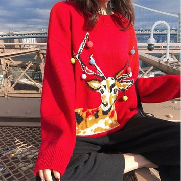 Slouchy Christmas Reindeer Red Sweater