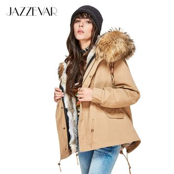 JAZZEVAR Fashion women's natural rabbit fur lined hooded coat mini parkas Large raccoon fur collar outwear winter jacket