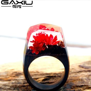 New Handmade Resin Ring Wooden Flower Wedding Jewelry Fashion Rings For Women Men
