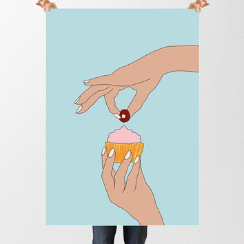 Cupcake Illustration, Pop Art Print, Instant Download, Fun Art Print, Cup Cake Art, Printable Wall Art, Kitchen Decor, Cute Kawaii Print