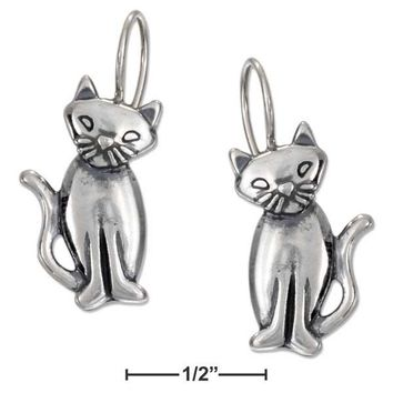 Sterling Silver Adorable Cat Earrings with Tilted Head on Wire