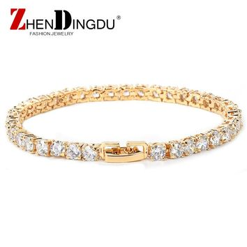 Bracelet Men's Hip hop Jewelry Copper Material Gold Silver Rose Color Box Clasp CZ Bracelet Link 18.5cm