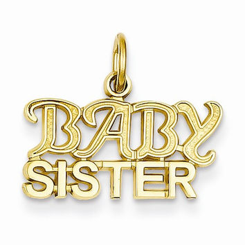 14k Yellow Gold Baby Sister Charm Pendant