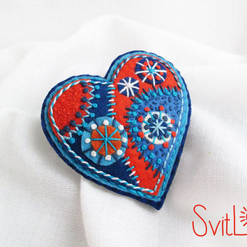Happy heart.Blue Orange Turquoise Fireworks.Felt brooch. Valentine's Day gift. Hand embroidery. French knot. Gift for her.
