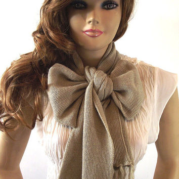 Knitted Bow Scarf BEIGE Oatmeal Chunky Alpaca Wool Knitted Bow Ascot Scarf Neck Warmer MORE COLORS