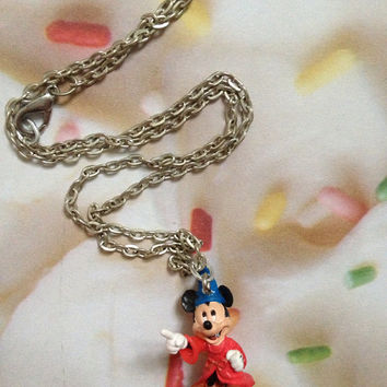 Mickey Mouse Disney Sorcerer Fantasia Disneyland Birthday Movie Silver Plated Chain Necklace