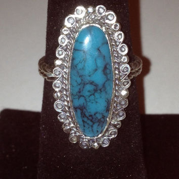 Taxco Turquoise Sterling Ring Sz 8 Silver 925 Cocktail Blue Stone Southwestern Vintage Jewelry Christmas Holiday Birthday Gift