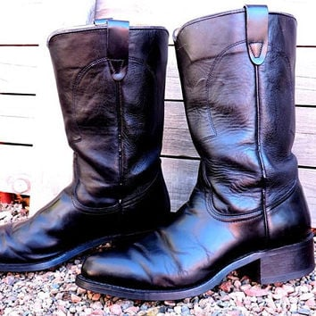 ce560c993 Vintage cowboy boots mens 8.5 / Texas ropers / black leather bo