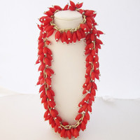 Celluloid Glass Necklace Cha Cha Fringe Necklace Red Hollow Glass Long Necklace Gypsy Fashion