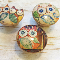 Woodland Handmade Knobs Drawer Pulls, Kitsch Owl 3 Knob Set, Owl Dresser Knobs, Cabinet Knobs, Nursery Knobs, Kids Room, Made To Order