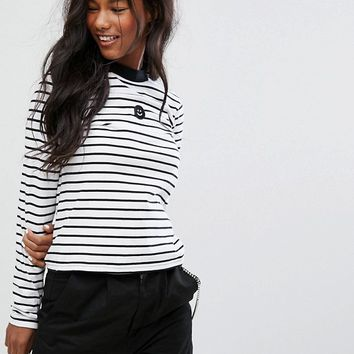 Lazy Oaf Long Sleeve Fitted T-Shirt With Happy Face In Stripe at asos.com