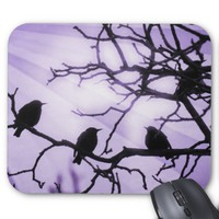 Birds on a Branch -Lavender Rays MousePad
