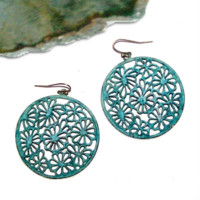 Huge Boho Hippie Statement Earrings Round Brass Filigree Flower Motif - Weathered Copper - Turquoise