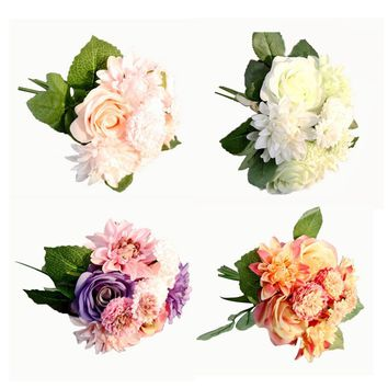 Silk Flower 1 Bouquet Roses Dahlias Artificial Flowers Fall Vivid Fake Leaf Wedding Home Party Decoration High Quality