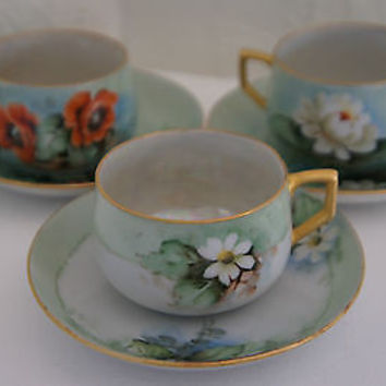 Original Nippon Cup & Saucer Set Daisy Poppy & Lotus Floral Designs Gold Accents