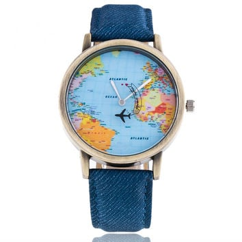 2016 Causal Fashion Map aircraft Jean Fabric Band Quartz Wrist Watch Men Women Watches for Valentine's Day gift geneva watch