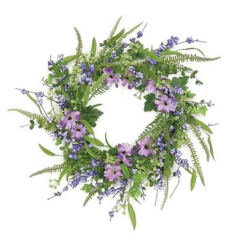 Daisies and Ferns Spring Floral 24 Inch Wreath Purple and Green