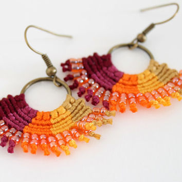 Macrame ombre textile beaded hoop earrings magenta orange yellow