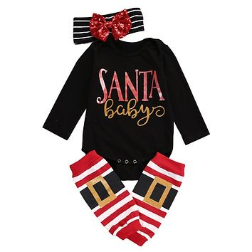 Christmas Baby Boys Girls Romper Jumpsuit + Pants Clothes Outfits 3 Sets Xmas baby rompers set newborn baby clothes 2016 New