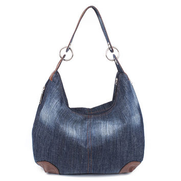 Large Denim Ladies Handbags Women Bag Big Hobo Purses and Hand bags Jean Shopper Tote Luxury Designer Bag Crossbody Shoulder Bag