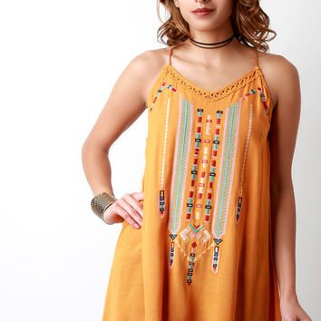 Embroidered Aztec V-Neck Sleeveless Top
