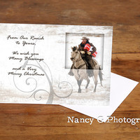 """Greeting Card, Holiday Cards, Christmas Cards, Western Christmas Card, Cowboy, 5""""x7"""", Greeting Cards, Nancy G Photography"""