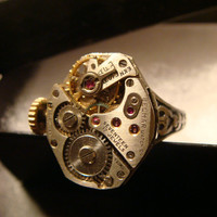 Steampunk Clockwork Watch Movement Ring with Exposed Gears (1292)