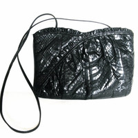 Vintage Palizzio Black Snake Skin Lizard Purse Python Handbag Shoulder Bag Clutch