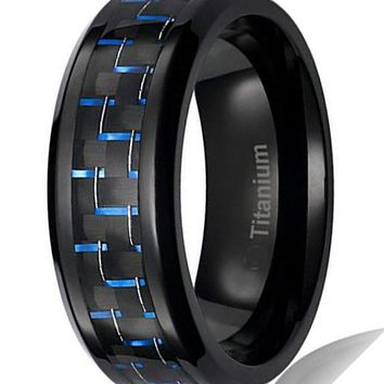 CERTIFIED 8MM Mens Titanium Ring Black Plated with Black and Blue Carbon Fiber Inlay