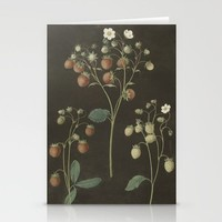 Botanical Wild Strawberry Illustration Stationery Cards by Blue Specs Studio