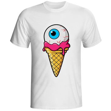 Zombie Eyeball Ice Cream T Shirt Authentic Genuine License Designer Cracking Novelty T-shirt Men Women White 100% Cotton Tee