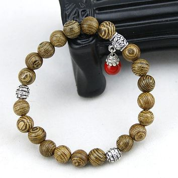 Natural Brown Wood Tibetan Buddhist Prayer Mala Beads with Charm - 2 Color Options