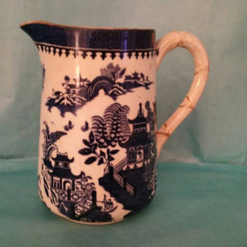 Antique ROYAL WORCESTER  jug pitcher 1884 blue willow