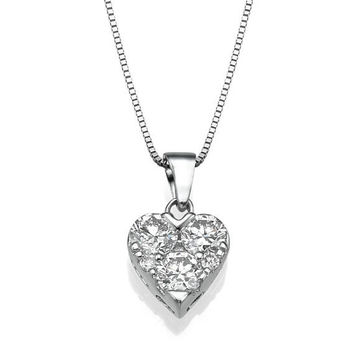 0.95 CT Diamonds Heart Necklace, Beautiful Necklace, 18K Solid Gold, GIA Cert. White Gold, Women Gift, Diamond Necklace, Wedding Necklace