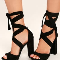 Dorian Black Suede Lace-Up Platform Heels