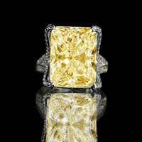 15ct. Radiant center hovering over fully double pave eagle claw style sterling silver prongs canary ring 635R71648canary