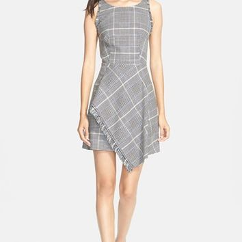 Women's 3.1 Phillip Lim Uneven Fringe Hem Check Wool Blend Dress,