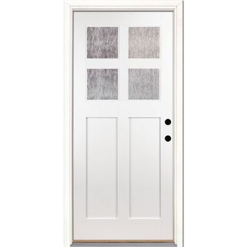Feather River Doors 37.5 in. x 81.625 in. 4-Lite Cord Craftsman Painted White Teak Left-Hand Inswing Fiberglass Prehung Front Door-MQ2F90 - The Home Depot