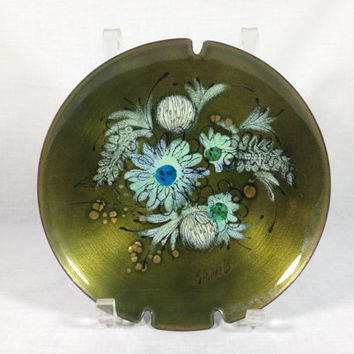Vintage Enameled Copper Ashtray Trinket Dish Floral Design by Sascha Brastoff  white abstract flowers on an opalescent green background