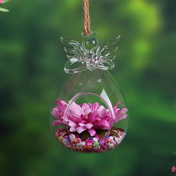 Angel Wishing Glass Hanging Transparent Vase Bottle Terrarium Containers Hydroponic Flower Plant Home Decor Candle Holders Stick
