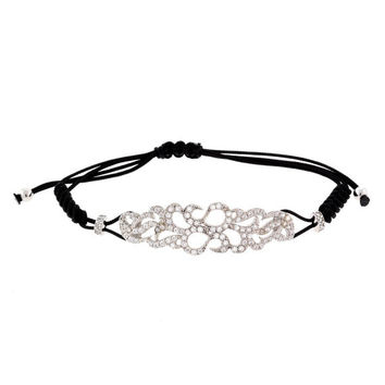 Beautiful Filigree Cutout Design Cubic Zirconia Accented Adjustable Cord Bracelet
