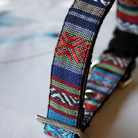 Mexican Tribal woven Dog Collar -P- blue, red, navy blue
